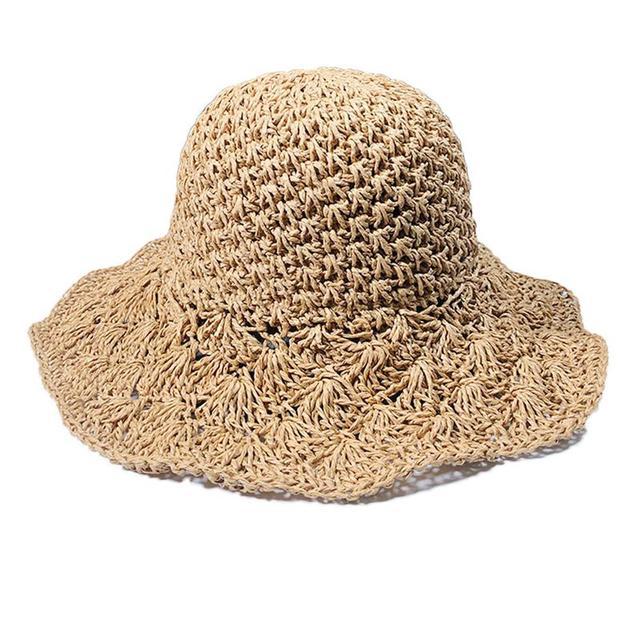 Summer Straw Hat Women Big Wide Brim Beach Sun Hat Foldable Breathable Fashion Straw Feminino Adjust Size Big Brim Straw Hat