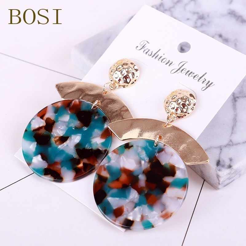 2019 new hot ZA Jewelry Acrylic Resin Round Earrings For Women Fashion Multi-color Geometry Big Circle Earrings Acetate Brincos