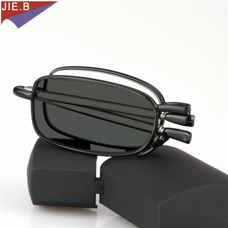 Updated New Transition Sun Photochromic Reading Glasses  Men Women Unisex Slim Mini Folding Reading Glasses Portable Cases