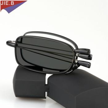 Zaktualizowane nowe okulary przejściowe okulary do czytania z fotochromem mężczyźni kobiety Unisex Slim Mini składane okulary do czytania przenośne walizki tanie i dobre opinie JIE.B Jasne Fotochromowe 47inch Poliwęglan Stop 27inch
