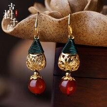 Винтажные серьги с красным камнем, серьги в форме капли воды для женщин, очаровательные висячие серьги, этнические модные ювелирные изделия, новое поступление