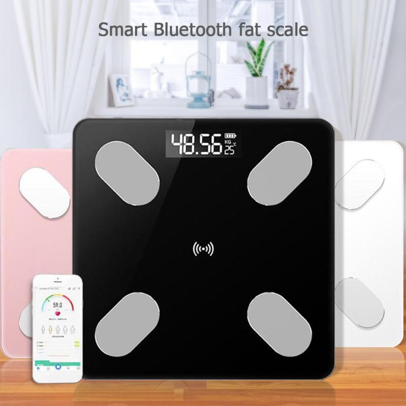 LCD Balanças Eletrônicas Escala de Gordura Corporal Digital Inteligente de Voz Bluetooth APP para Apple/IOS Banheiro Equilíbrio Familiar