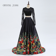 CRYSTAL JIANG 2019 Two Pieces Black Long Sleeves Sexy Open Back Custom made A Line Sweep Train Floral Printed Evening Dresses