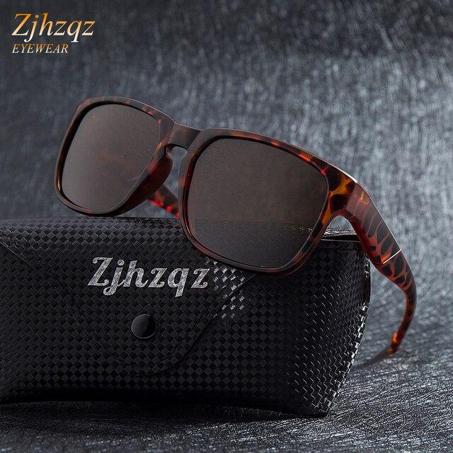 4636829fc39 ZJHZQZ New UV400 Fashion Sunglasses Womens Polarized Sunglasses Mens Brown  Driving Mirrors Black Lens Eyewear Male Sun Glasses