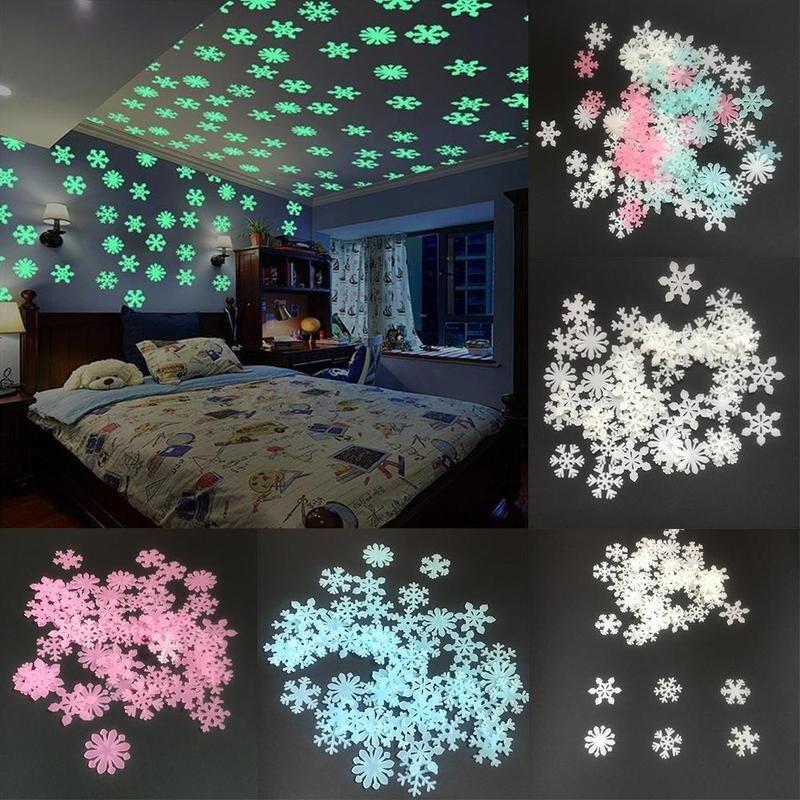 Accurato 50 Pcs Fai Da Te Fluorescente Sticker Di Natale Camera Dei Bambini Light Up Giocattoli Luce Glow In Dark Luminoso Fiocco Di Neve Giocattoli Diy7450
