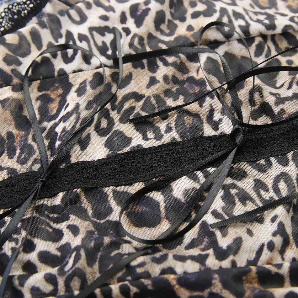 Missomo женский Стриппер Рабочий комбинезон сексуальный леопардовый принт кружевной топ-боди прозрачный облегающий женский костюм пляжного типа больших размеров комбинезон
