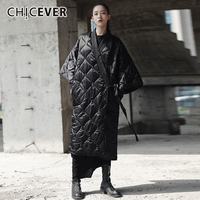 CHICEVER Women's Down Jacket V Neck Three Quarter Sleeve Bandage Black   Parka   Jackets Female Fashion Vintage Clothes New