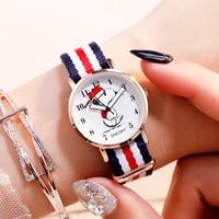 Snoopy Kids Watch Children Watch Casual Fashion Cute Quartz Wristwatches Girls Waterproof Canvas Bracelet clock