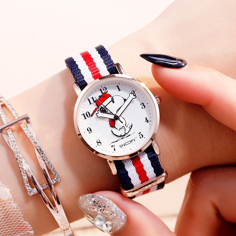 Snoopy enfants montre enfants montre décontracté mode mignon Quartz montres filles étanche toile Bracelet horloge