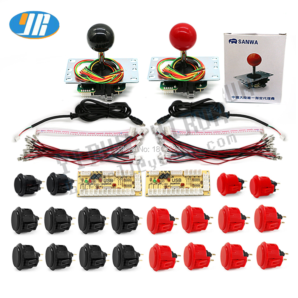 2 Player kit for PC Raspberry pi Controller With Original Sanwa Button SANWA OBSF Joystick Zero