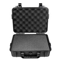 Waterproof Portable Aluminum tool box Instrument box Storage Case with Sponge Lining Handheld Impact resistant Outdoor Tool Box