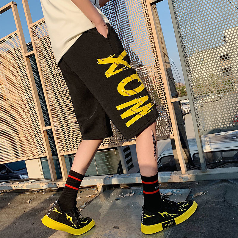 Men's Short Trousers 2019 Summer New Pure Color Straight Trousers Harem Trousers Loose Casual Personality Young Men's Wear
