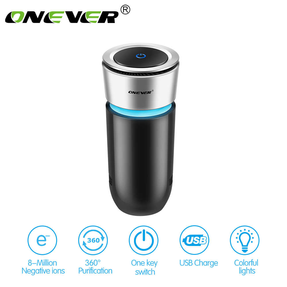Onever Cup Shape Car Air Purifier Negative Ions Air Cleaner Ionizer Air Freshener with Car Charger Remove PM2.5 Formaldehyde