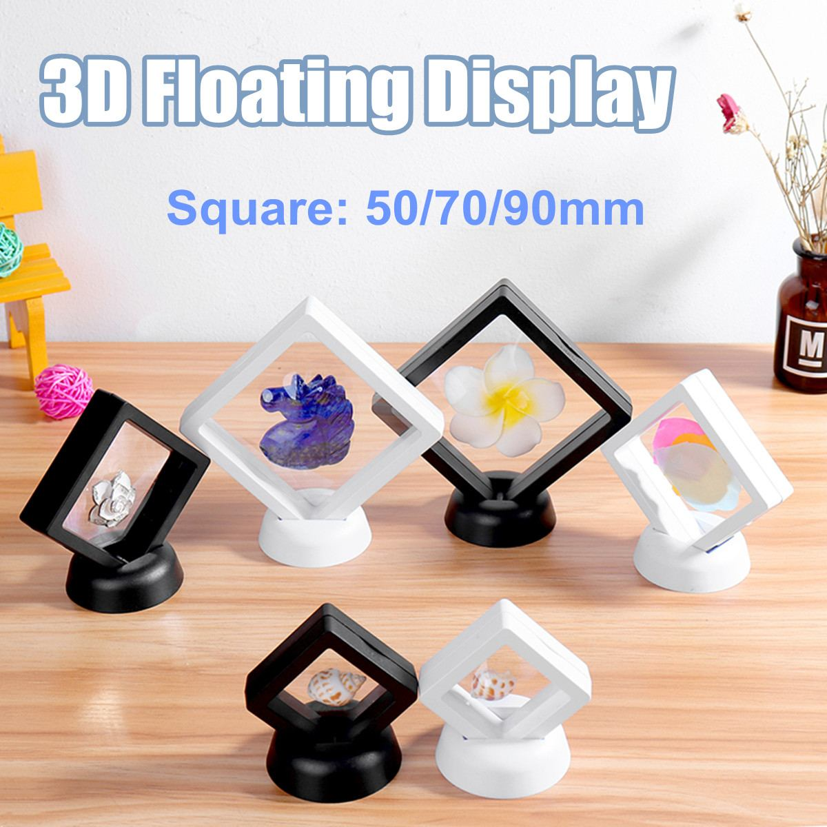 Fashion ABS Cases Displays Square 3D Albums Floating Frame Holder Black White Coin Box Jewelry Display Show Case For Wedding