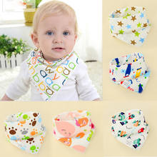 New Cute Baby Boys Girls Bibs High Quality Cotton Cartoon Print Baby Bandana Bibs Saliva Toddler Triangle Head Baby Scarf Bib(China)