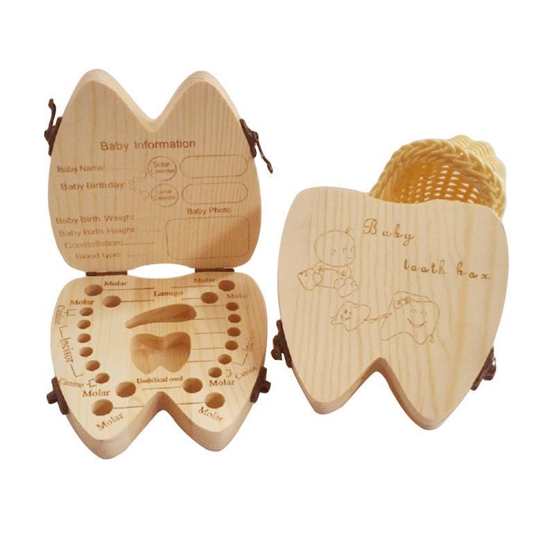 Baby Deciduous Teeth Souvenir Box Baby Boy Girl Fallen Tooth Box Storage Natural Wood Case Save Milk Teeth Collection Holder
