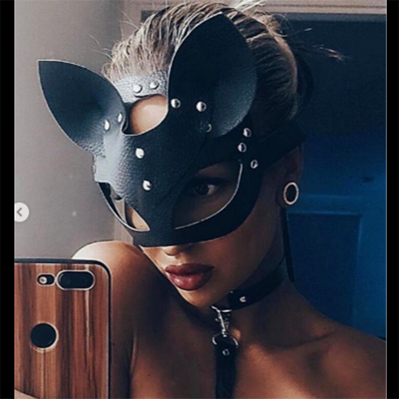 Adult size Pink Fancy Half Face Cat Mask on Headband Masquerade fnt