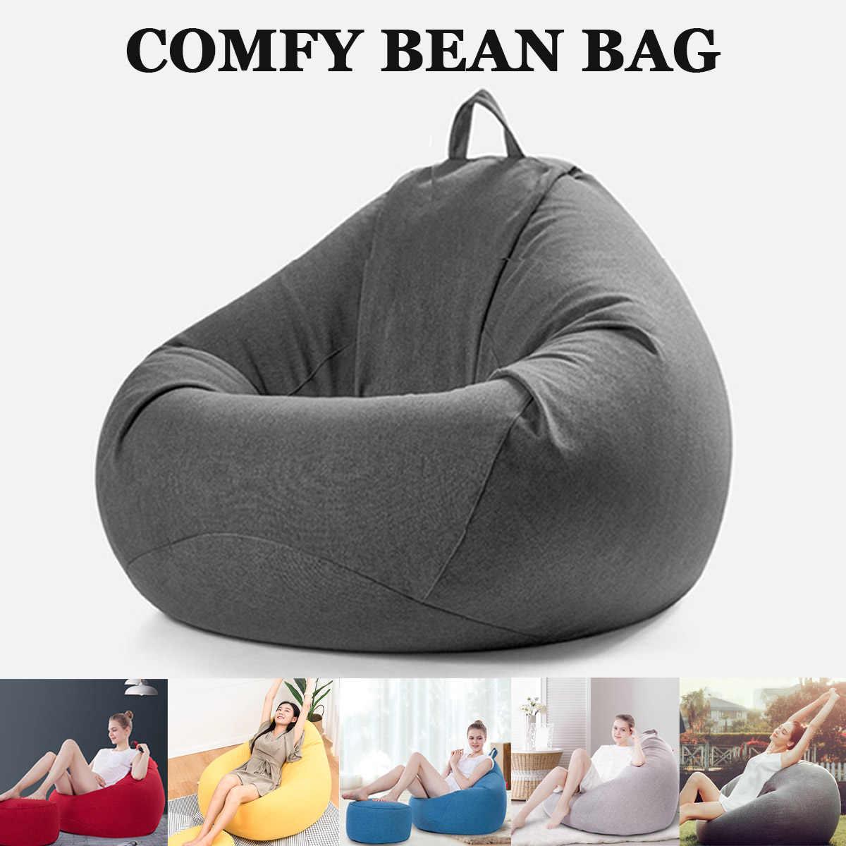 Уютное кресло-мешок диваны без наполнителя льняная ткань шезлонг сиденье Кресло-мешок, фасоль стулья пуф слоеного дивана татами мебель для гостиной