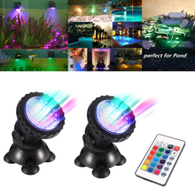 LED fish Tank Light 1 Set 2 Lights Underwater Spot Garden Pond light  RGB Aquarium D25