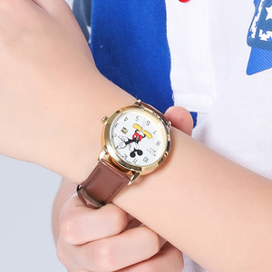 Image 3 - דיסני מותג מיקי מאוס נשים שעונים גבירותיי גברים עור קוורץ שעונים לילדים שעונים עבור בנות בני מקורי אריזת מתנה