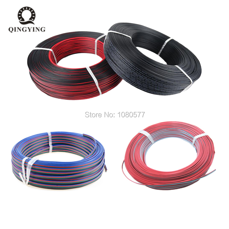 30/50/100m/lot 2Pin <font><b>3Pin</b></font> 4Pin 5Pin <font><b>22AWG</b></font> Cable Tinned Copper PVC Insulated Extension Wire For WS2812B 5050 LED Strip Connecting image