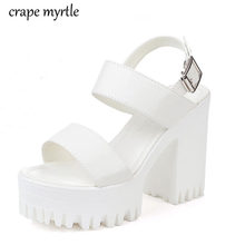 Женские сандалии на массивном каблуке белые платформе и высоком