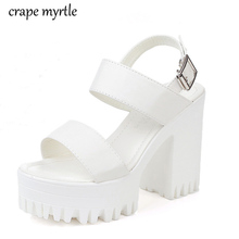 Купить с кэшбэком chunky heel sandals punk shoes High Heels Platform Sandals Women Summer Shoes sandalias romanas women's white sandals YMA751