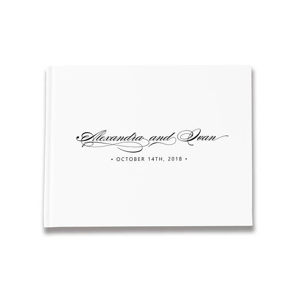 White Wedding Guestbook Alternatives,Wedding Guest Book Personalized Name And Date,White Wedding Guest Book Ideas For Couple image