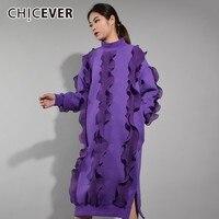 CHICEVER Patchwork Chiffon Ruffles Dress For Women Half Turtleneck Lantern Sleeve Split Hem Warm Dress Fashion Casual Clothes