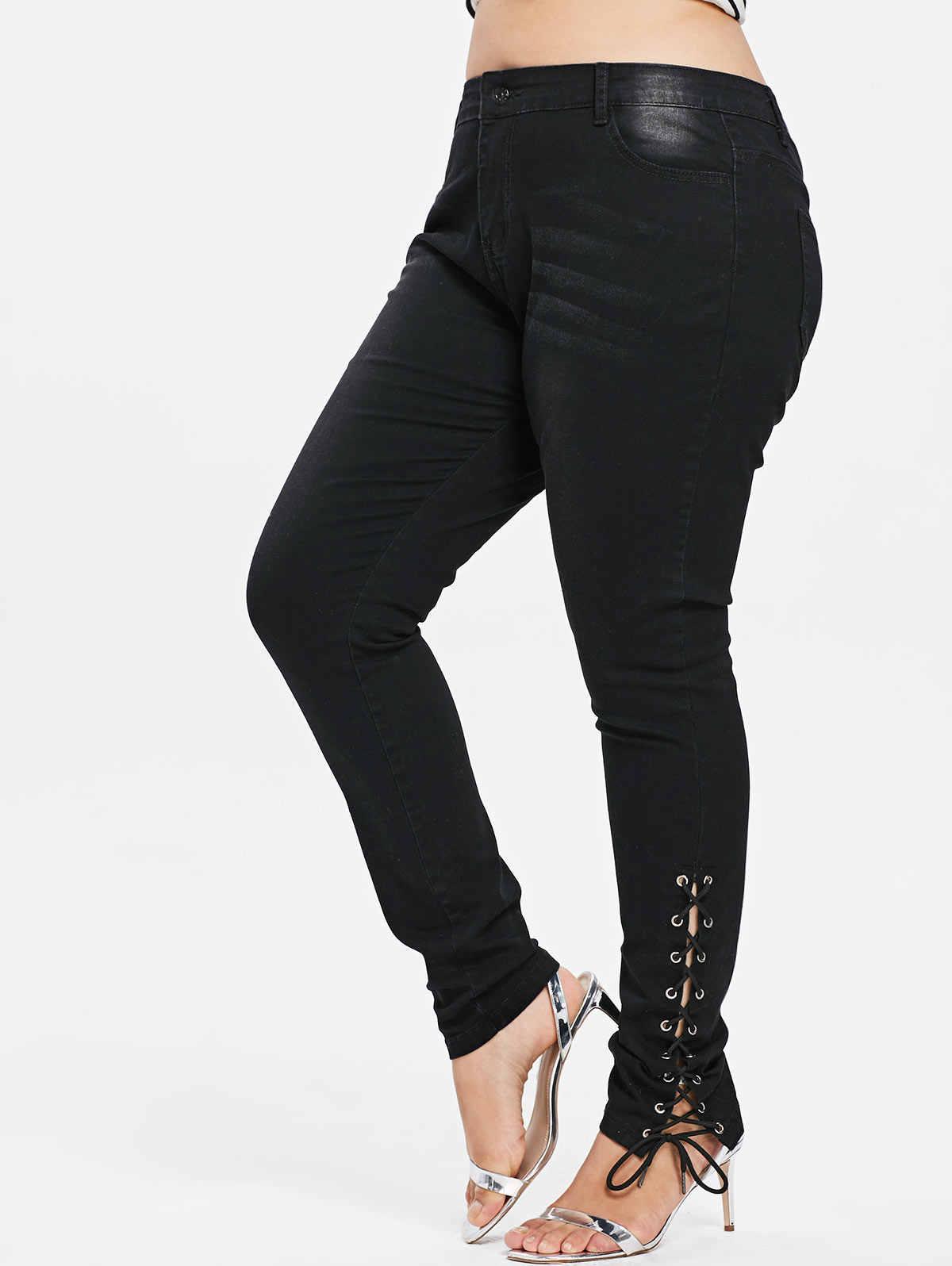 b3dd9dddbc4 Wipalo Plus Size Jeans Zipper Fly Side Lace Up Women Pants New Fashions  Skinny High Waist