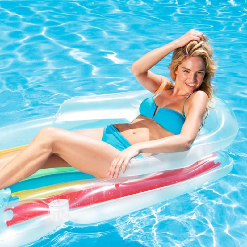 Summer Water Floating Row Inflatable Air Mattresses Swimming Pool Bed Mat Random Color