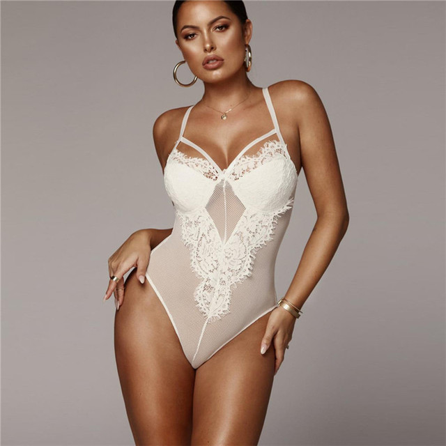3df563bb8 European And American Explosion Models 2018 Winter New Style Women Shoulder  Strap Open Back Cutout Mesh Sexy Lace Leotard Female