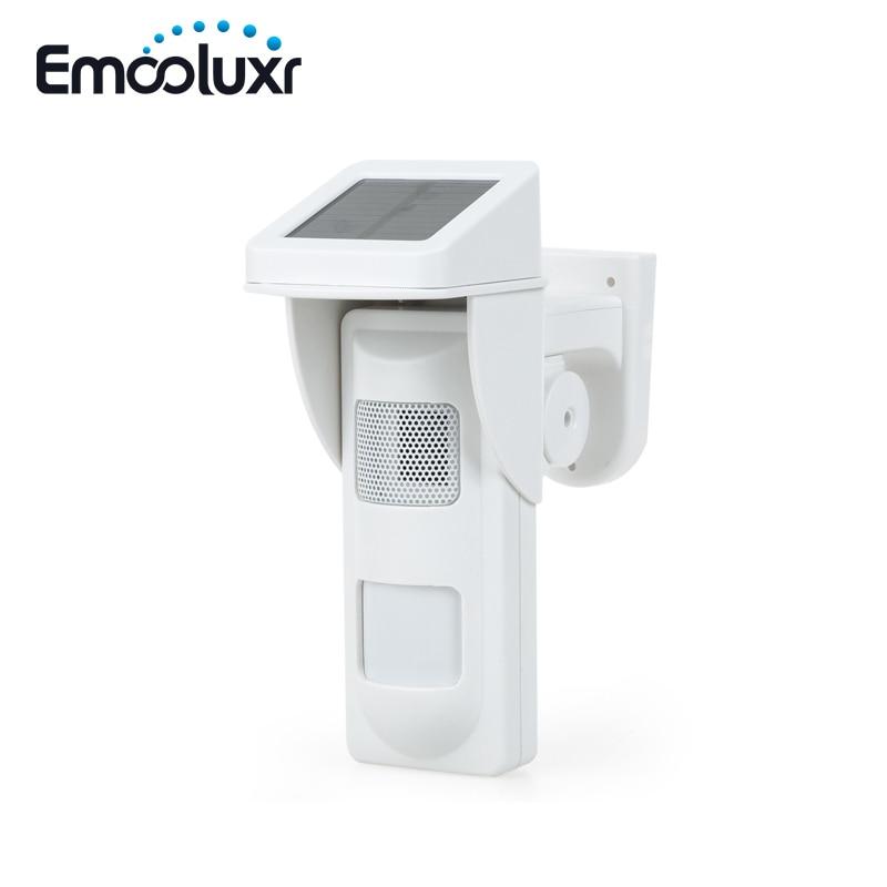 433MHz Solar Alarm PIR Sensor Detector Wireless Flashing Sound Siren Alarm with 2pcs Remote Controller