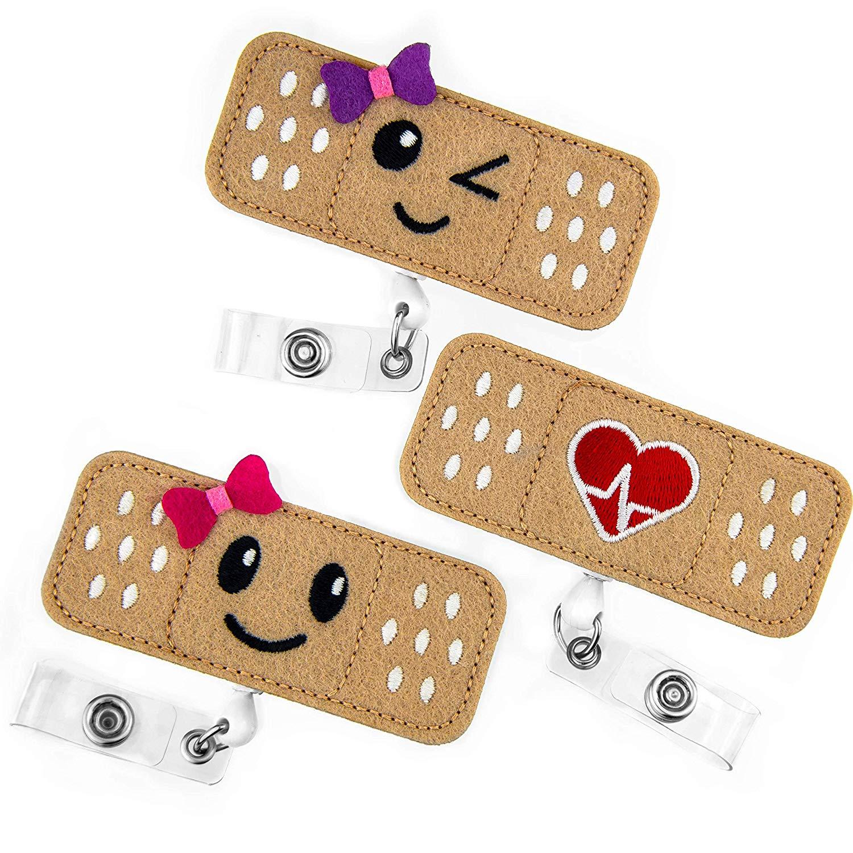 3pcs Lot Badge Reel Holder Badge Reel for Nurses, Students & Teachers Retractable ID Card Holder with Alligator Clip Smile Face