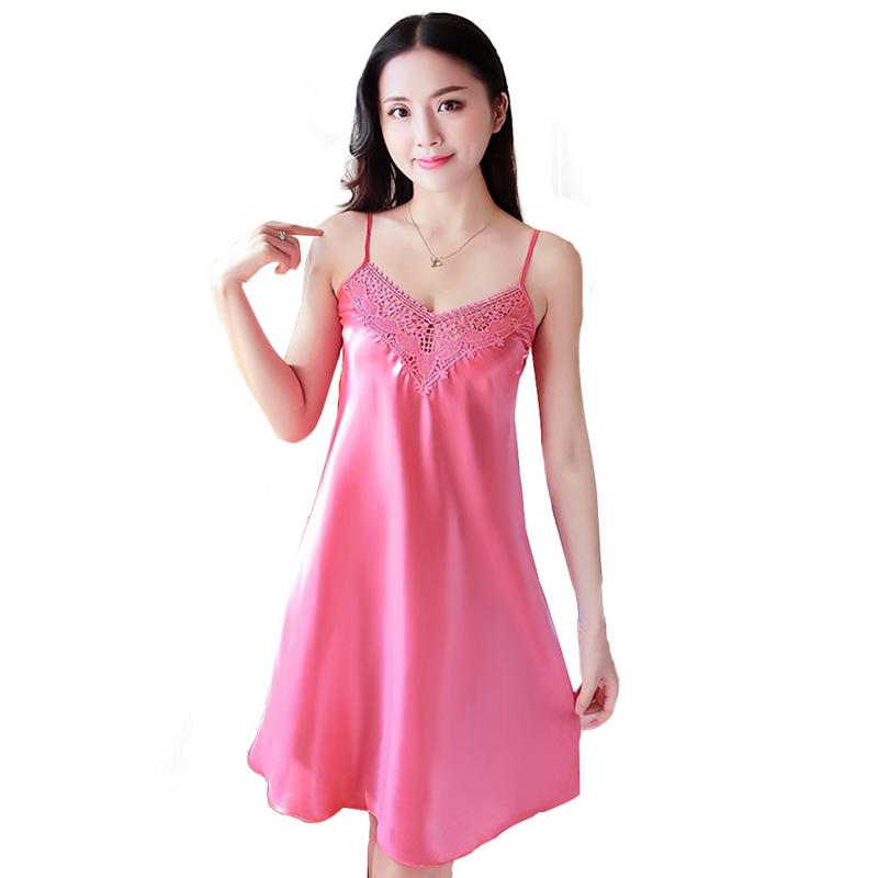 Lace   Nightgowns   Women Sling Sexy   Sleepshirts   Home Ladies V-Neck Silk Thin Night Dress Summer Sleepwear Free Shipping