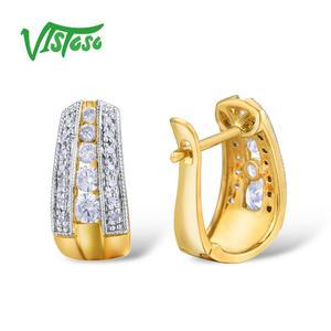 Image 3 - VISTOSO Gold Earrings For Women 9K 375 Yellow Gold Glamorous Elegant Sparkling Diamond Luxury Wedding Engagement Fine Jewelry