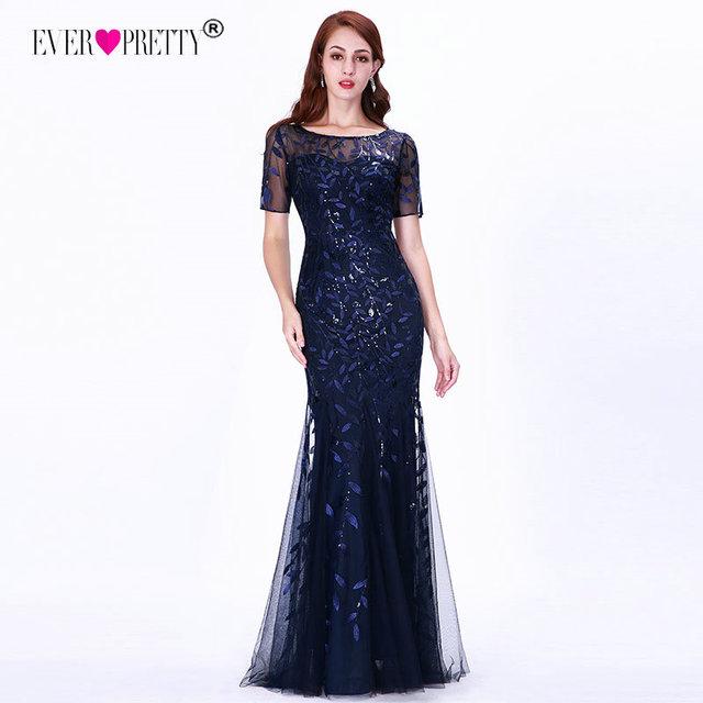 Plus Size Saudi Arabia Prom Dresses 2019 Ever Pretty EZ07707 Short Sleeve Lace Appliques Tulle Mermaid Long Dress Party Gowns 2