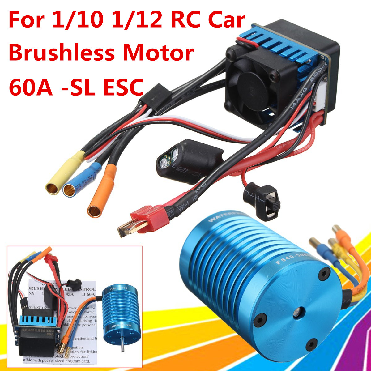 New Racing 60A ESC Brushless Speed Controller F540-3000KV Brushless Motor 13T Motor for 1/10 1/12 RC Car 45a brushless speed controller esc w fan for 1 18 1 12 cross country car