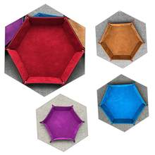 PU Leather Hexagon Dice Tray Collapsible Rolling Tray Dice Storage Box For Board Games Foldable Storage Tray Desktop Storage Box(China)