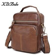 X.D.BOLO Genuine Leather Shoulder Bags Fashion Men Messenger Bag Small Ipad Male Tote Cowhide Crossbody Bags Men's Handbags недорого