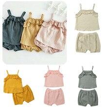 664aaf39b Verano fresco breve Infantil Niño bebé niña conjuntos de Sling chaleco  tanque Tops + cintura elástica pantalones cortos 2 piezas.