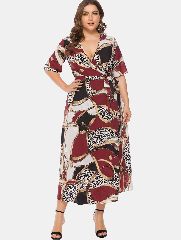 Wisalo Женское Платье макси с принтом в виде цепи, большие размеры 6XL, с глубоким вырезом, с короткими рукавами, с поясом, повседневные платья больших размеров