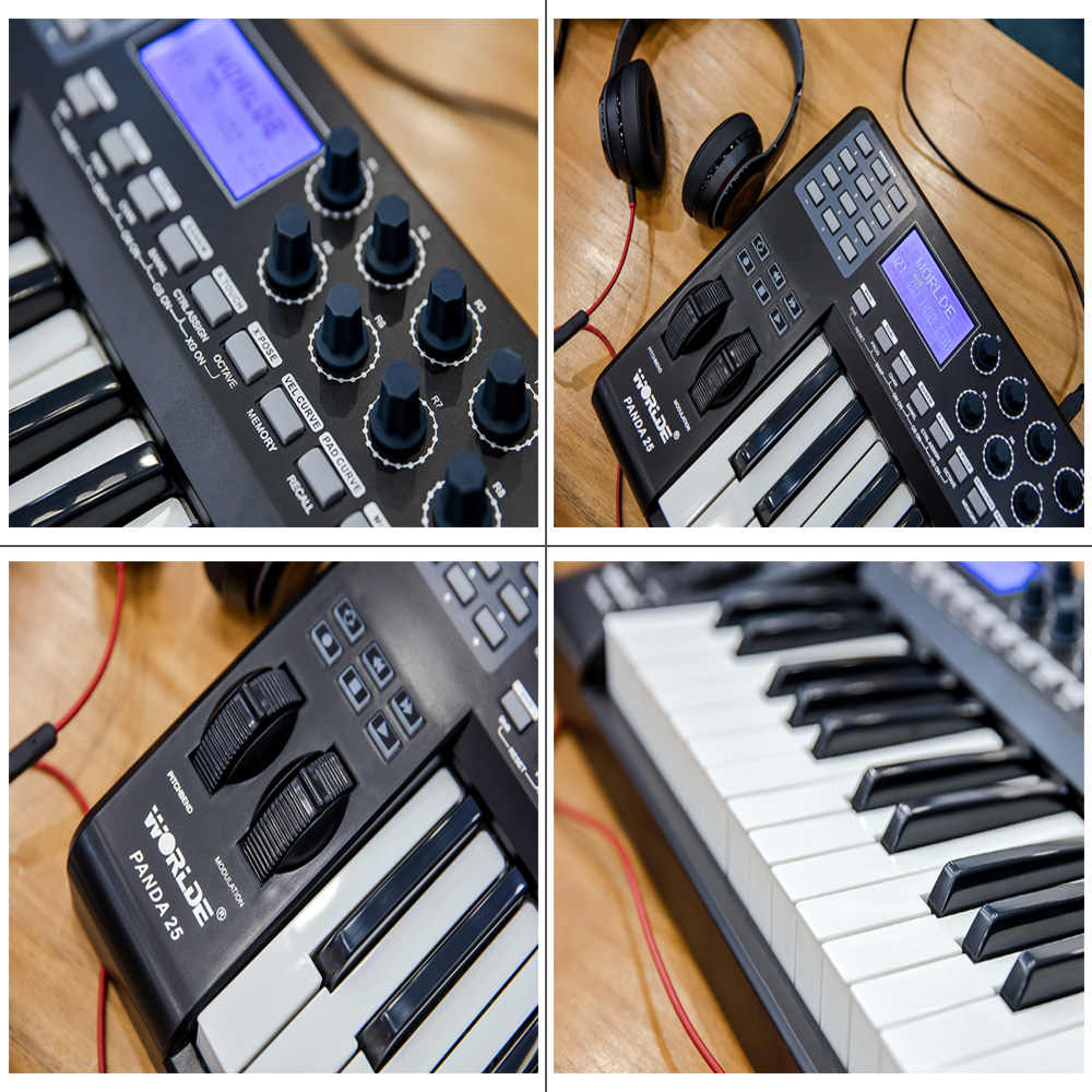 وحدة تحكم بلوحة مفاتيح ميدي يو اس بي 25 مفتاح مدمجة من ورلد باندا a25 8 RGB مع كابل يو اس بي
