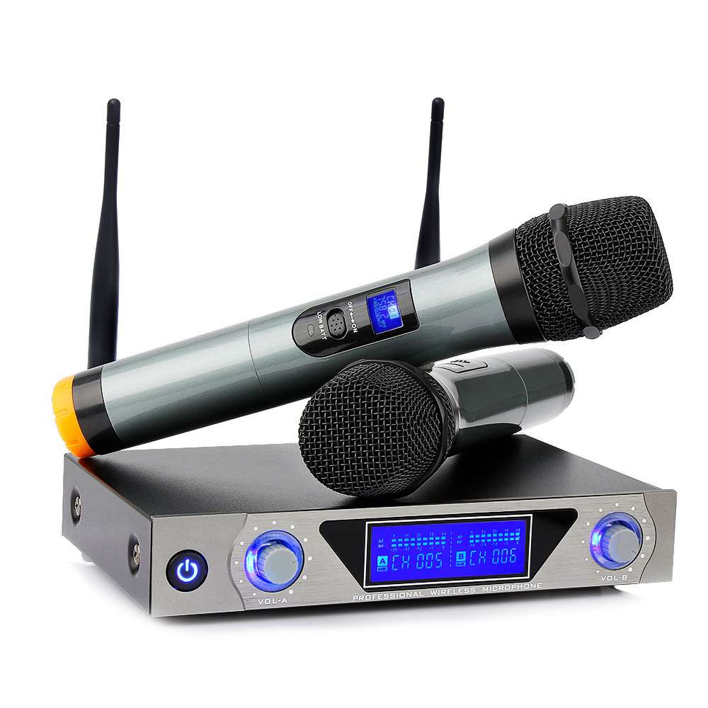 LEORY Dual UHF Portatile Senza Fili di Bluetooth Microfono Sistema di Karaoke MIC per la Casa KTV Conferenza DiscorsoLEORY Dual UHF Portatile Senza Fili di Bluetooth Microfono Sistema di Karaoke MIC per la Casa KTV Conferenza Discorso