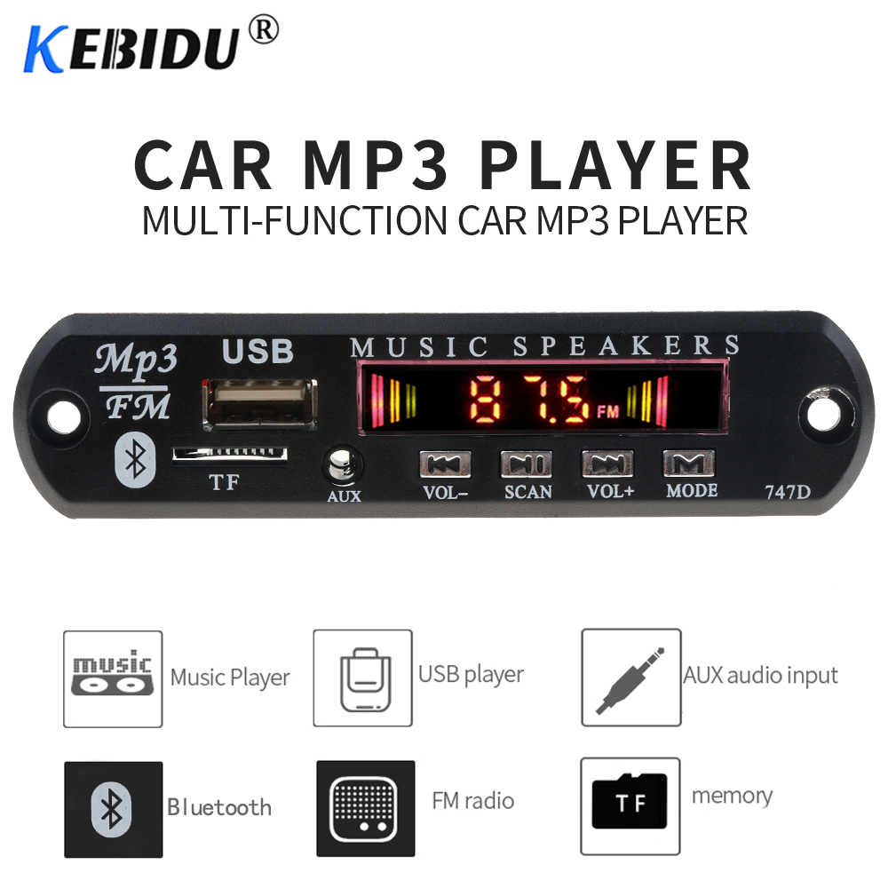 Kebidu 12V Wireless Bluetooth MP3 WMA Decoder Board USB TF FM Radio MP3 Player Audio Module For Car Accessories With Remote