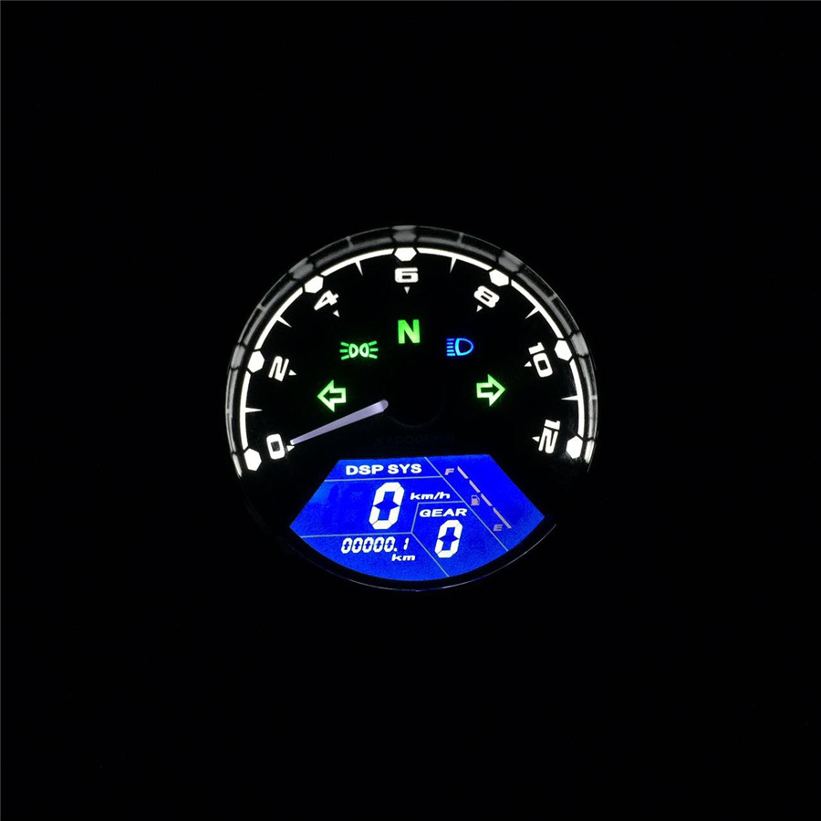 Universal Motorcycle LCD Signal Speedometer Tachometer Odometer Gauge 12000RPM for Cruiser Chopper Cafe Racer Old School old school motorcycle gauges