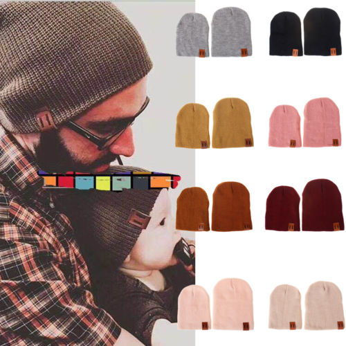 NEW Fashion Women Man Kids Hats Carochet Knitted   Beanies   Mom Dad Baby Warm Winter Soft Comfy Casual   Beanie   Hats Ski Ball Caps