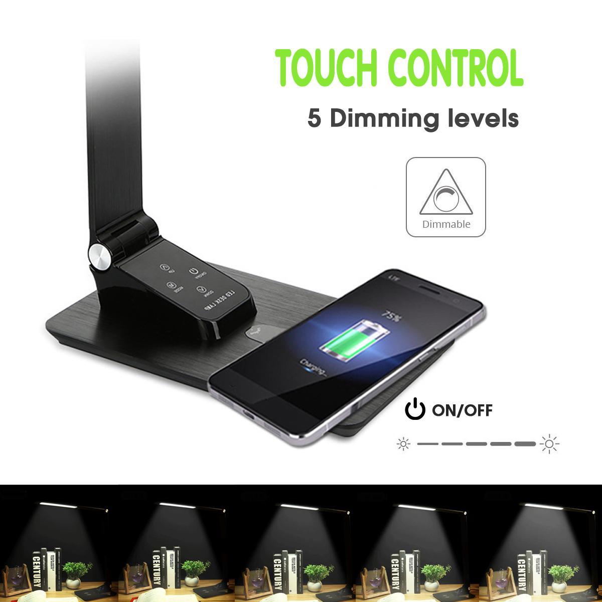LED pour contrôle tactile pliant Protection des yeux lampe de bureau capteur Table veilleuse avec Qi chargeur de bureau sans fil sortie USB