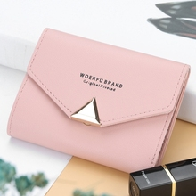 Womens Short Wallet Solid Color Buckle Simple Casual Small Fresh Multi-Function