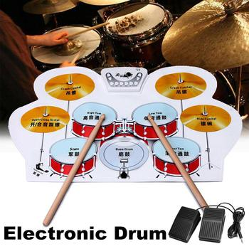 Portable Electronic Drum Digital USB 9 Pads Roll Up Drum Set Silicone Electric Drum Pad Kit With DrumSticks Foot Pedal For Kids